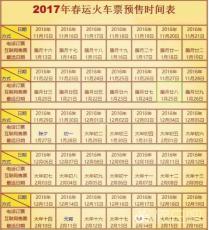 2017春运火车票预售期时间表 春运火车票什么时候可以买